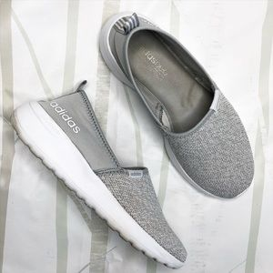 Adidas Neo Cloudfoam, Gray Slip On Sneakers